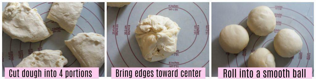 brioch bread dough shaped into four smooth balls