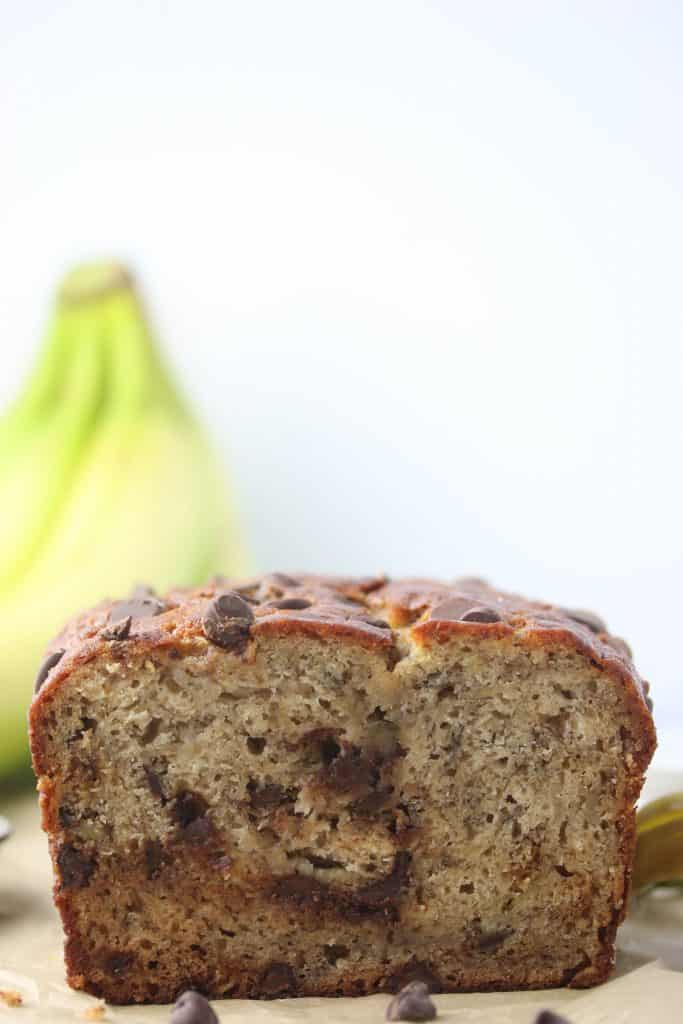 loaf of chocolate chip banana bread cut in half