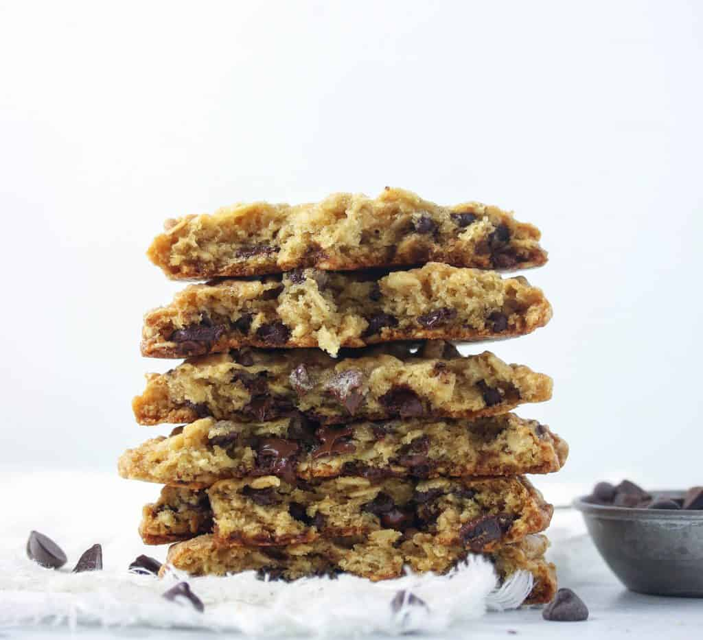 oatmeal cookies stacked and cut in half