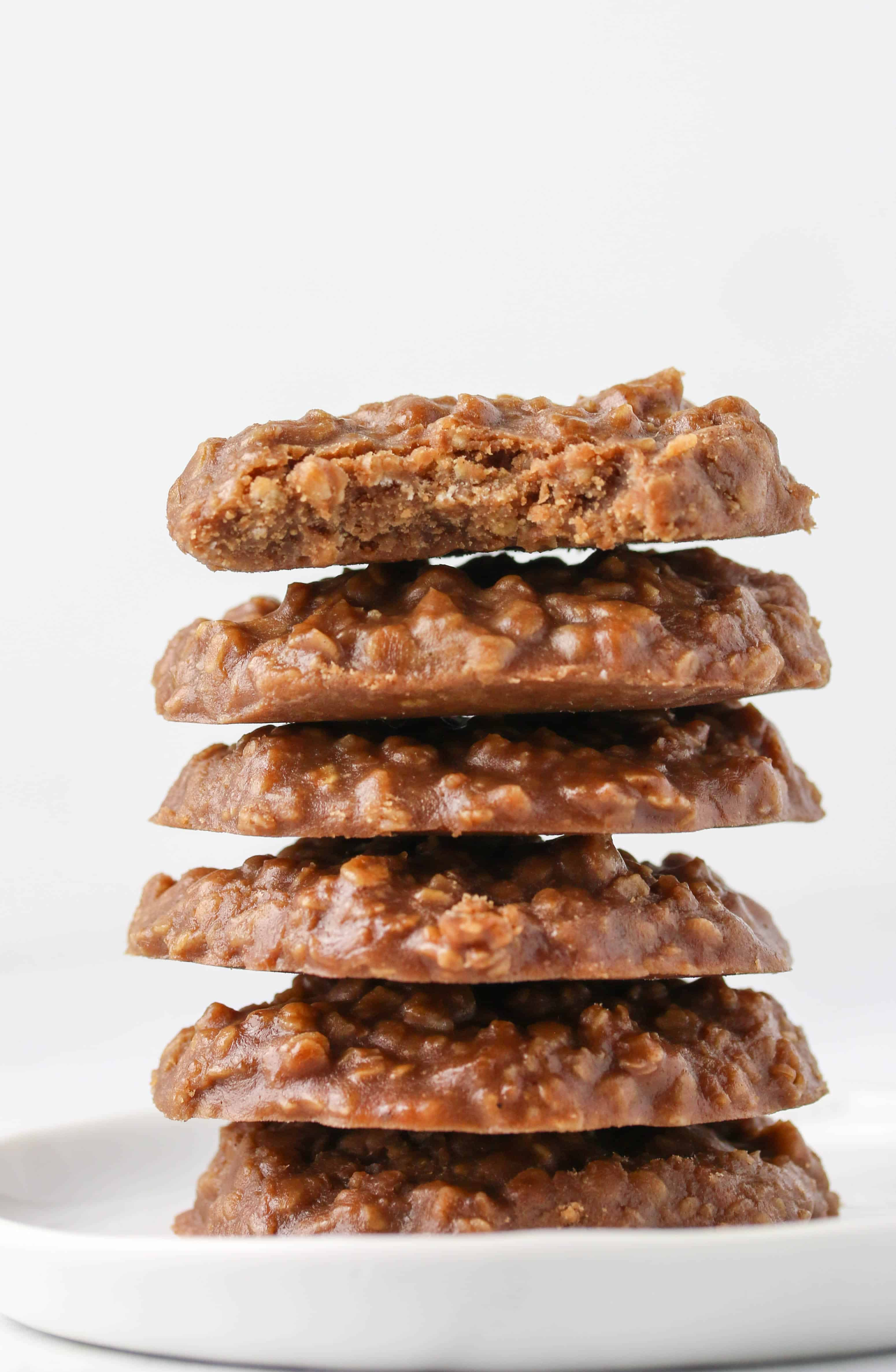 Stack of no bake cookies on plate.