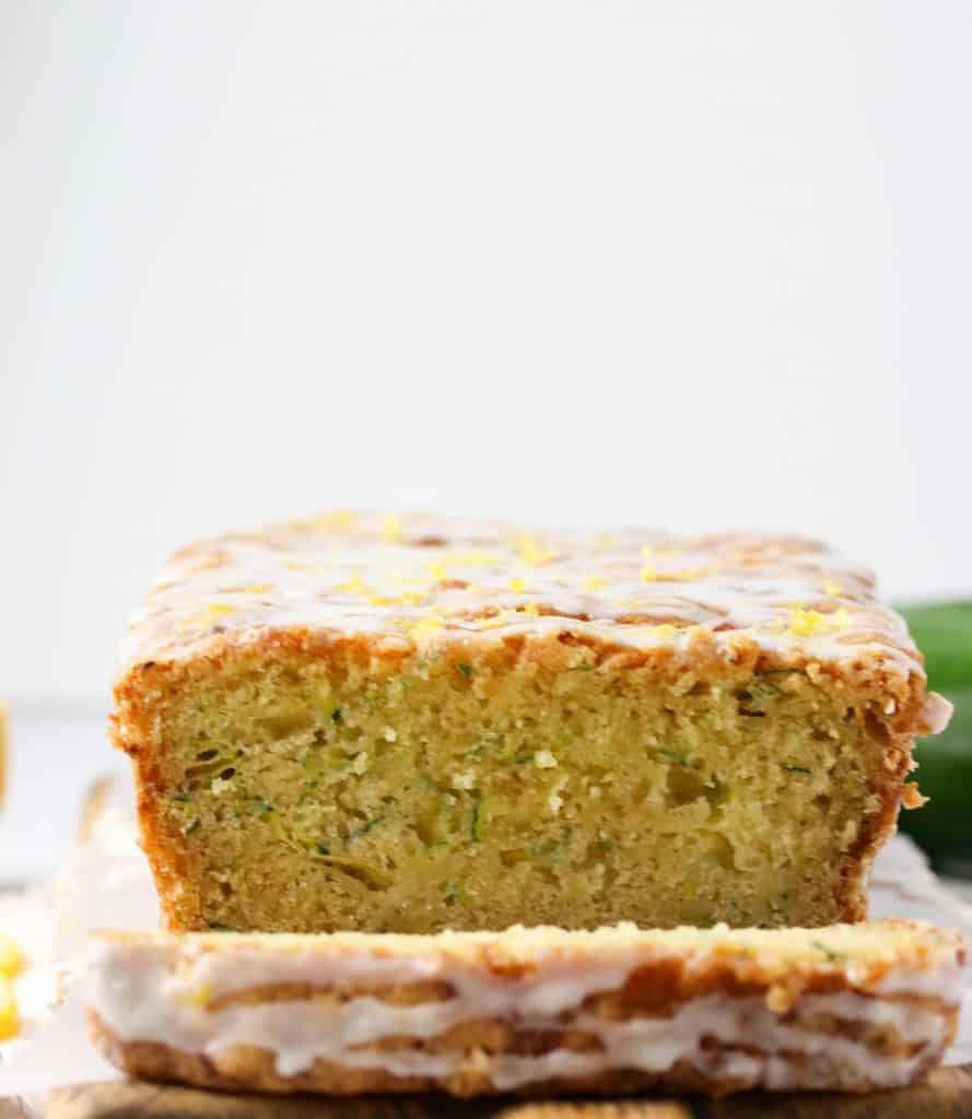 lemon zucchini bread cut in half