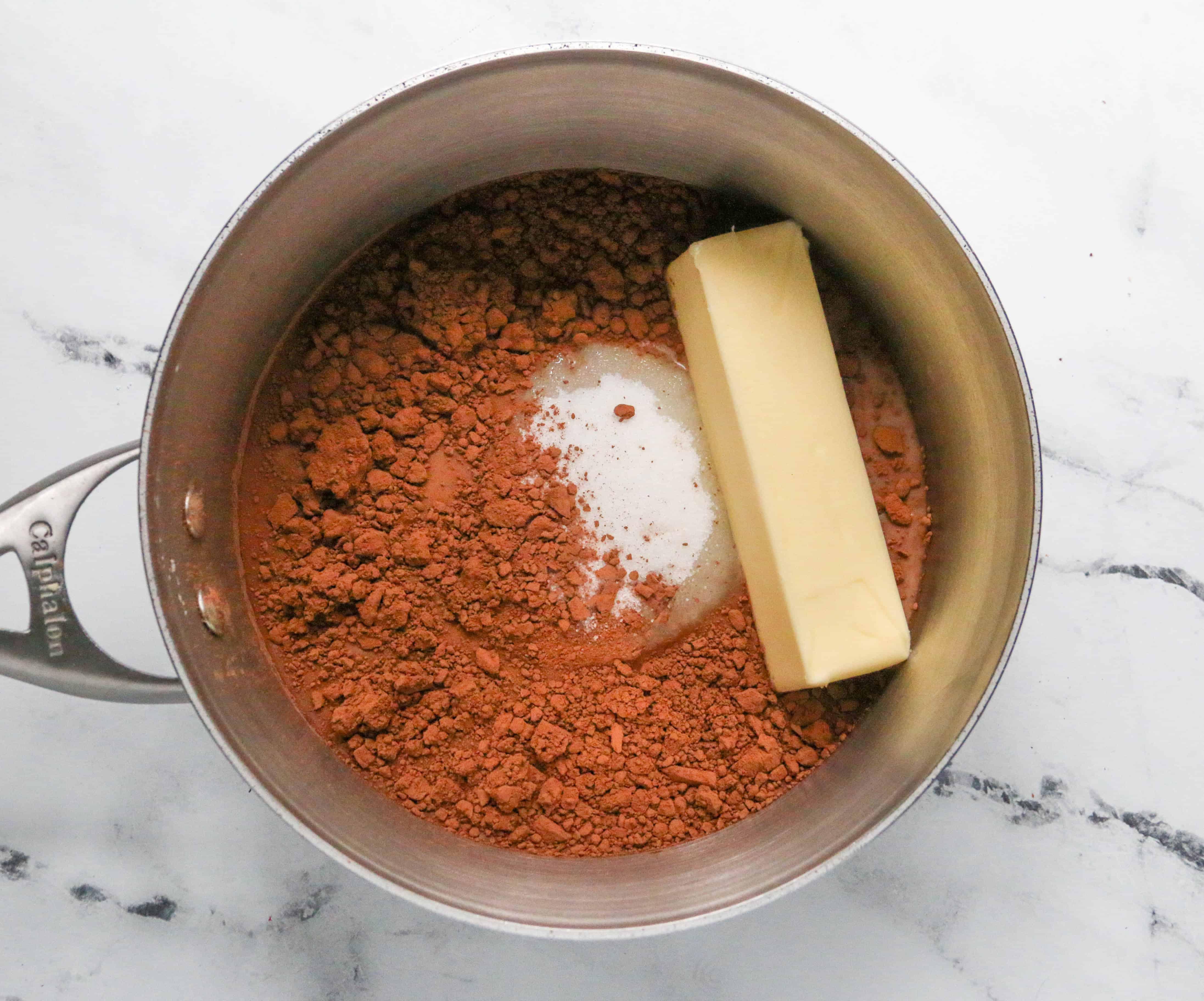 Boil ingredients in saucepan for 1 minute.