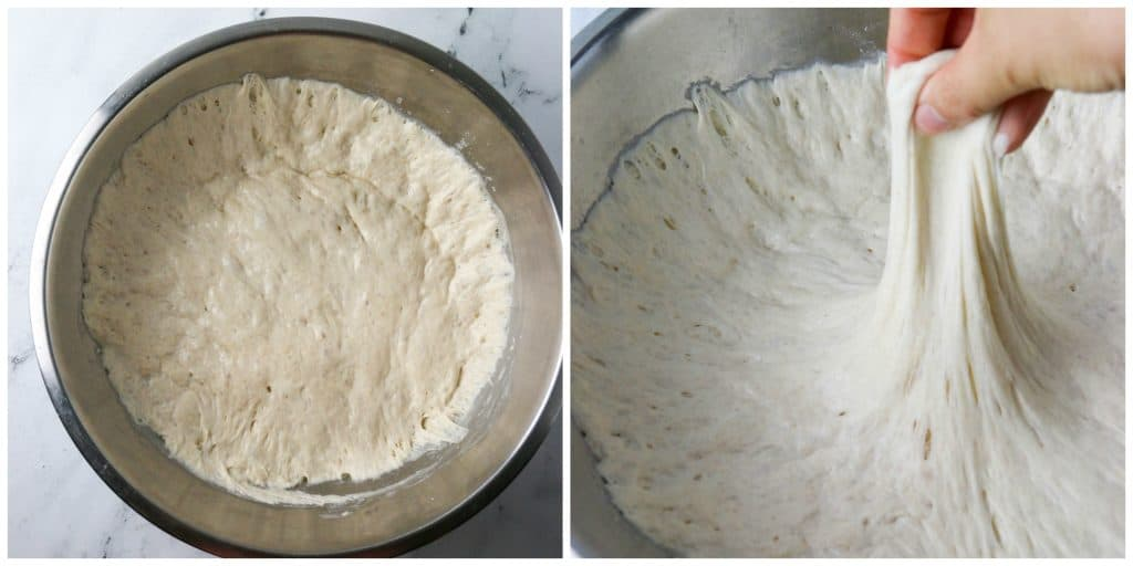 sourdough focaccia dough that's risen in a bowl