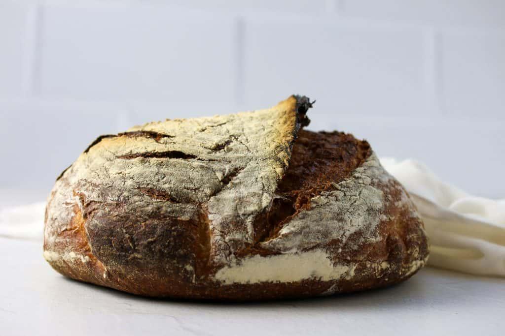whole loaf of sourdough rye bread