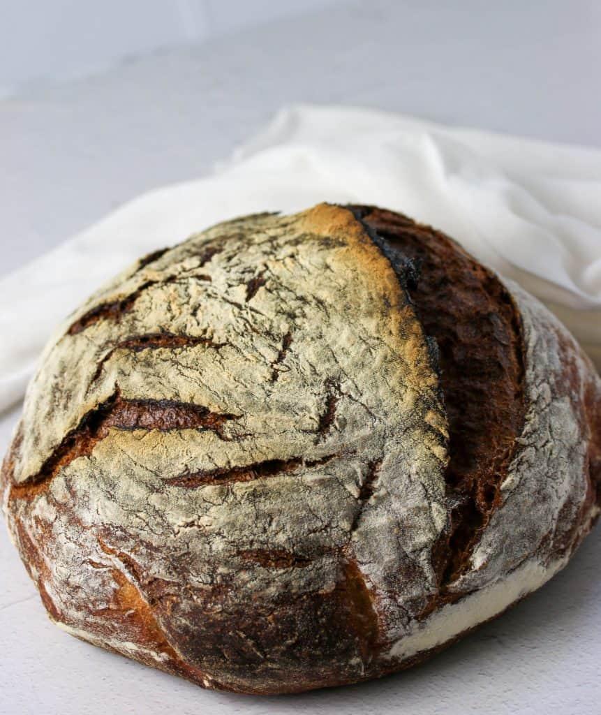whole sourdough rye bread loaf