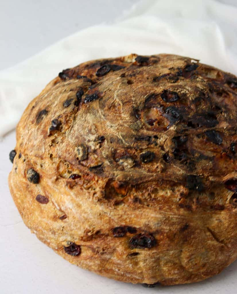 a whole no knead cranberry pecan loaf