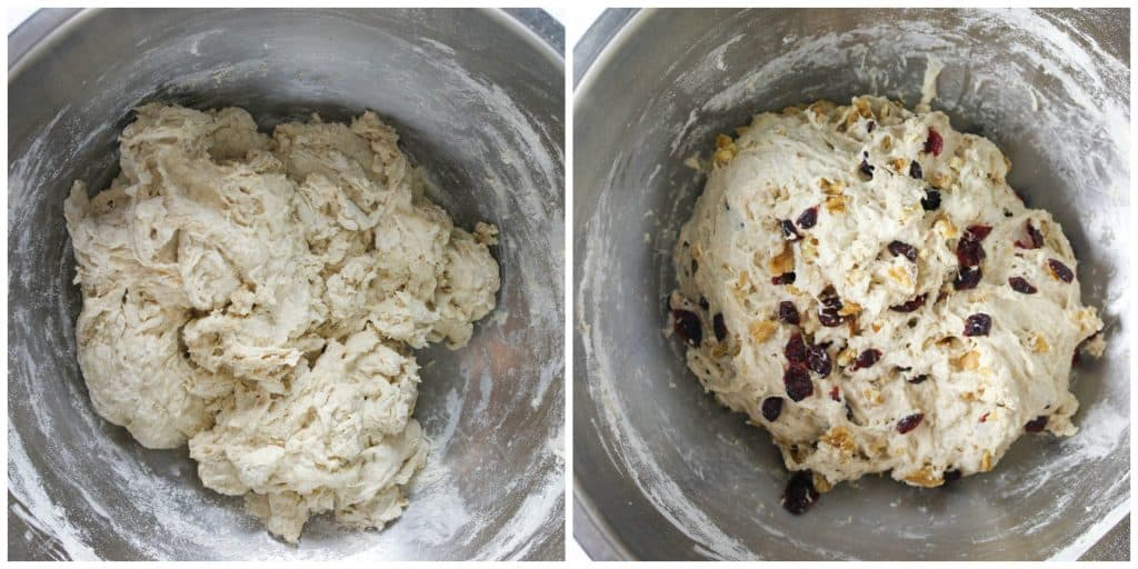 two photo of dough being prepared, left of dough being mixed, and right of cranberries and walnuts added in