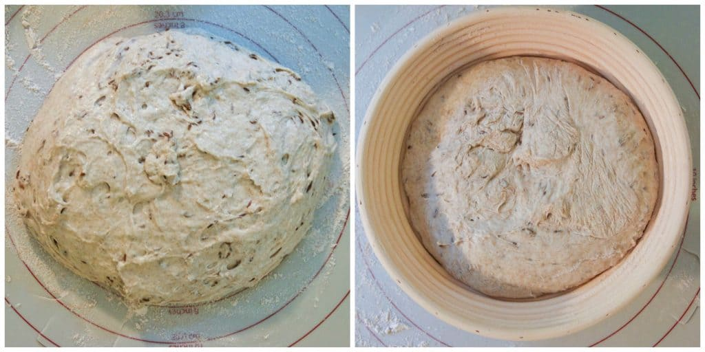 sourdough rye bread dough shaped and placed in banneton basket