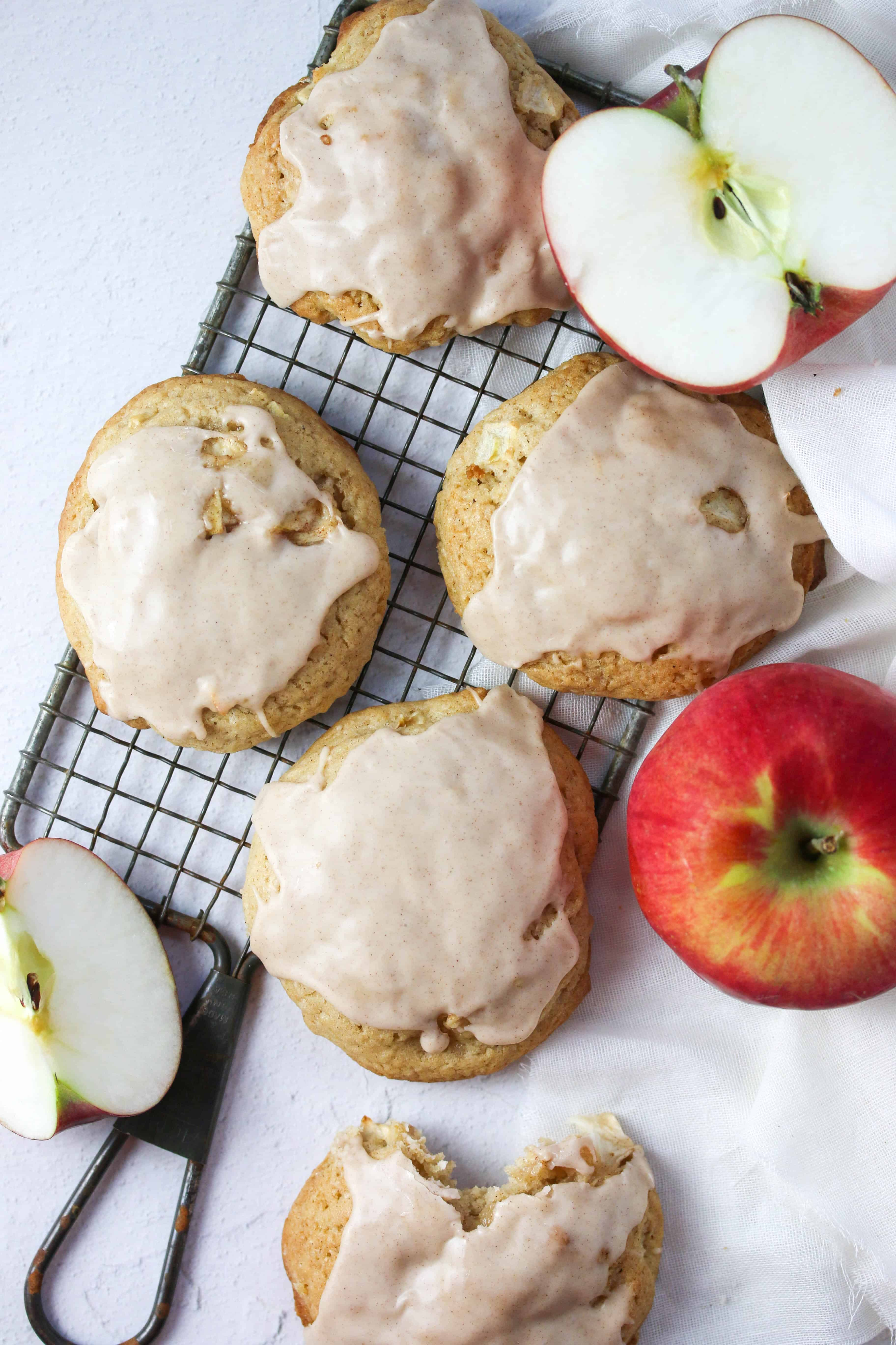 apple cider cookies on a cooling rack