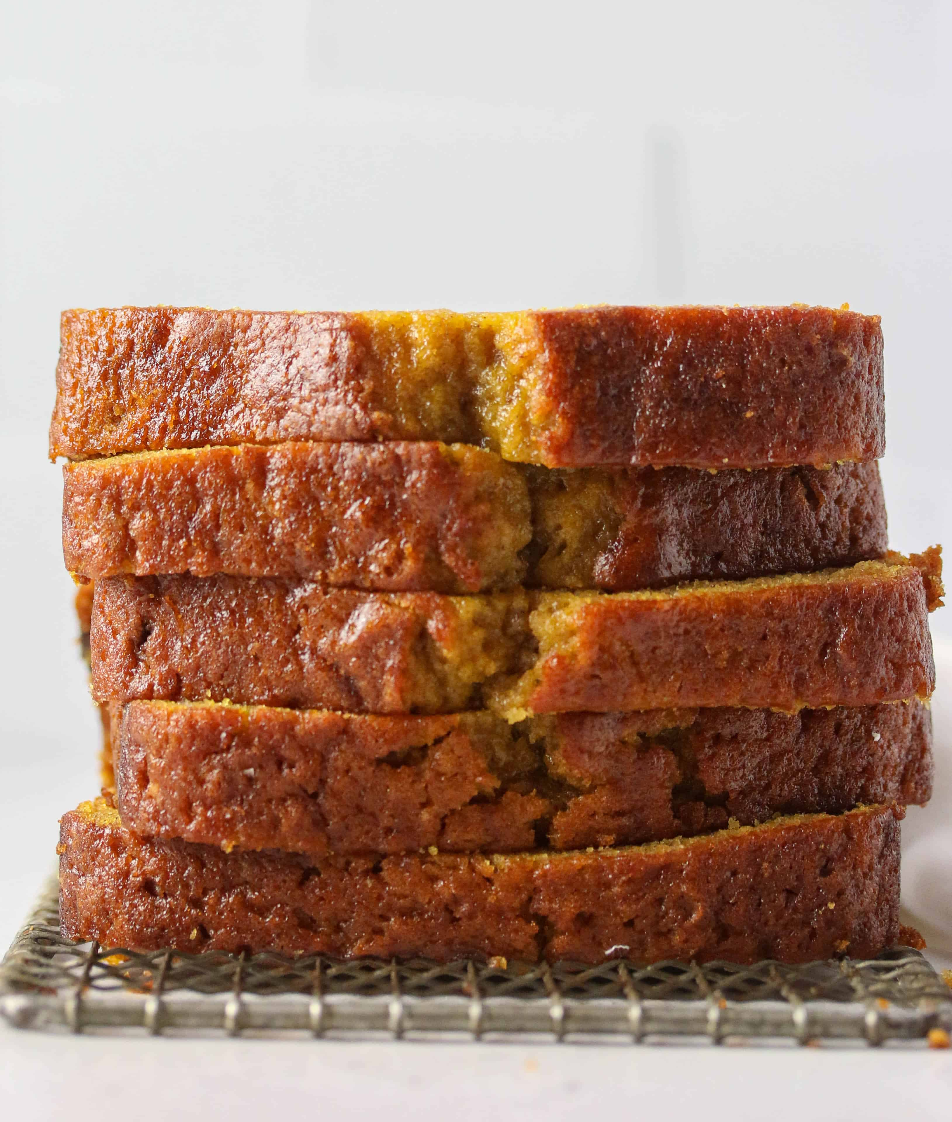 five slices of butternut squash bread stacked on top of each other
