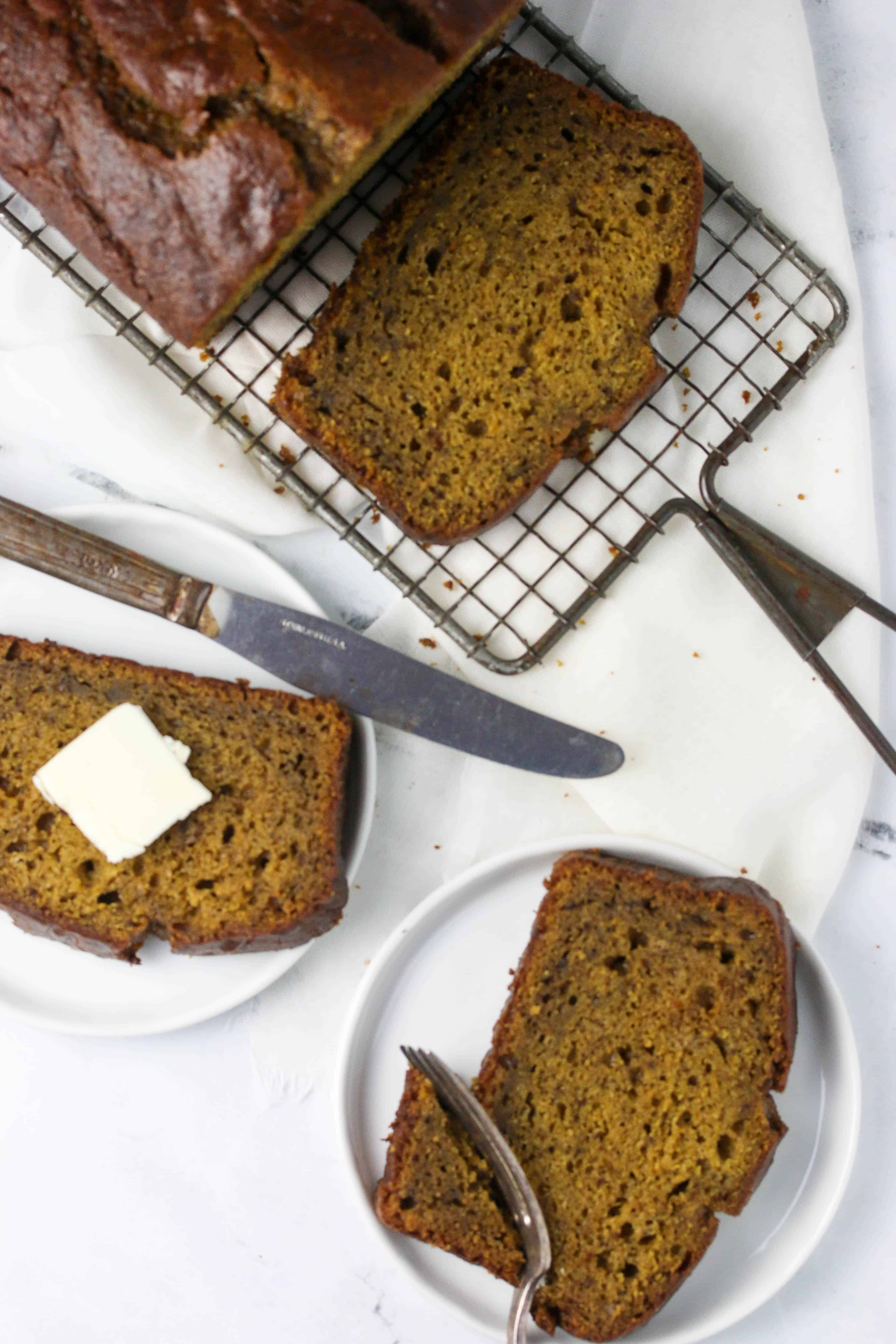 slices of butternut squash bread on plates