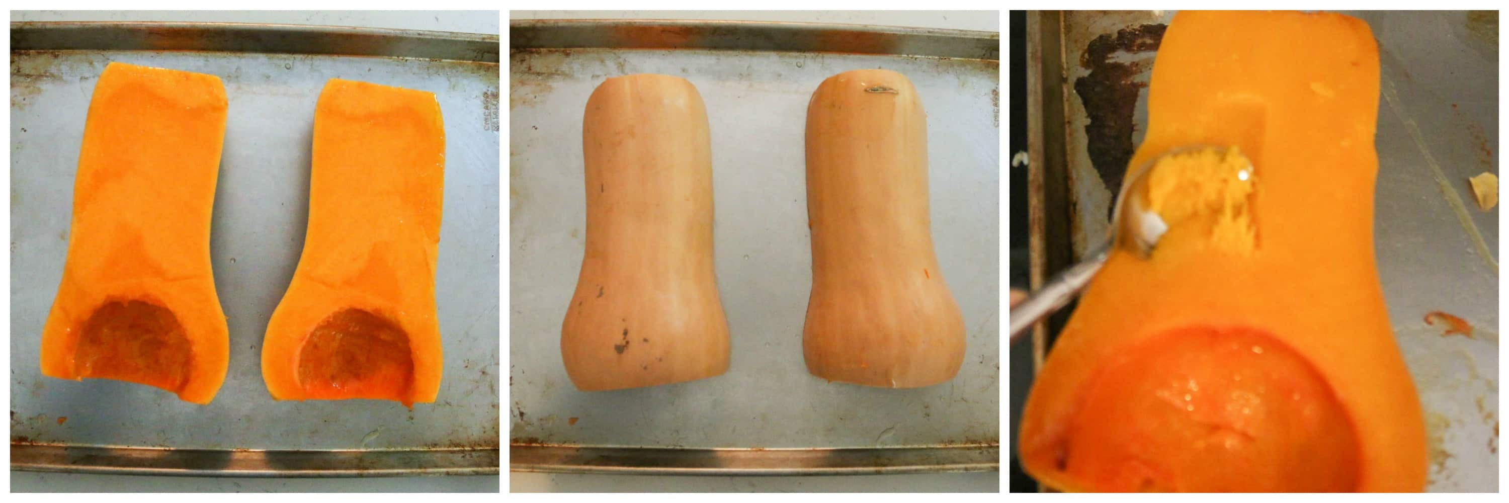 squash cut in half and on baking sheet and roasted