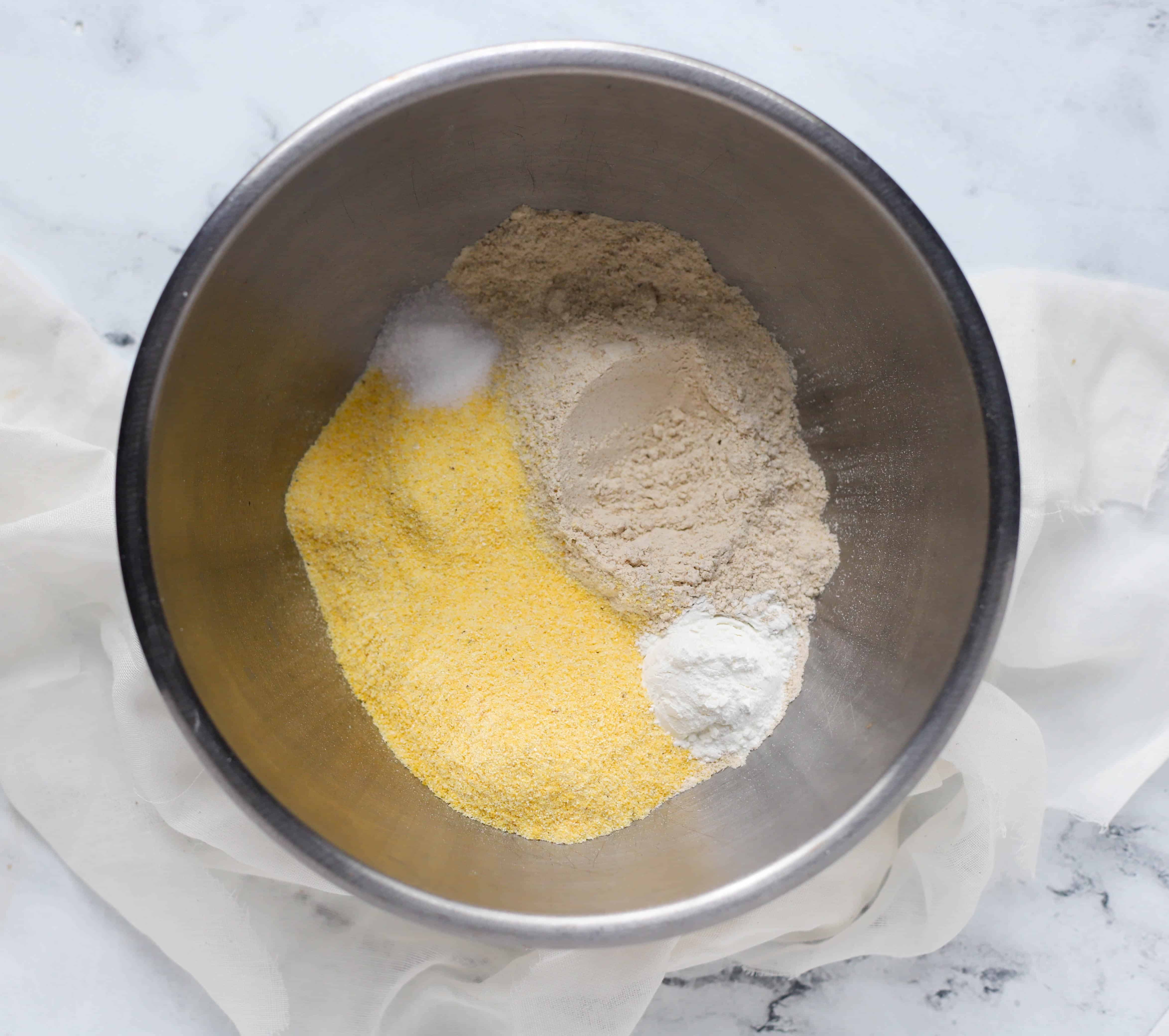 dry ingredients in a bowl for healthy cornbread