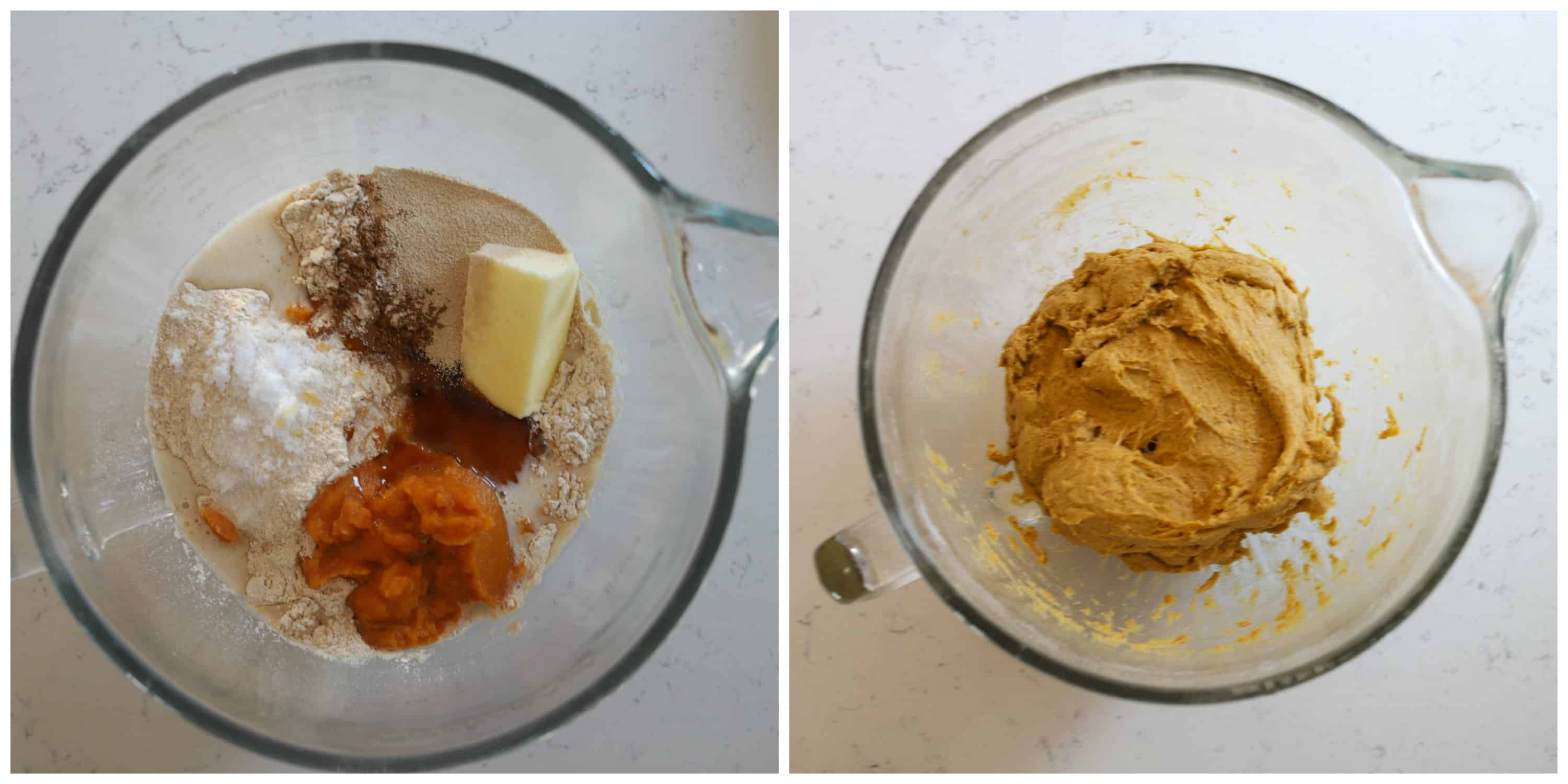 side by side photos of pumpkin dough in a bowl unmixed, and mixed