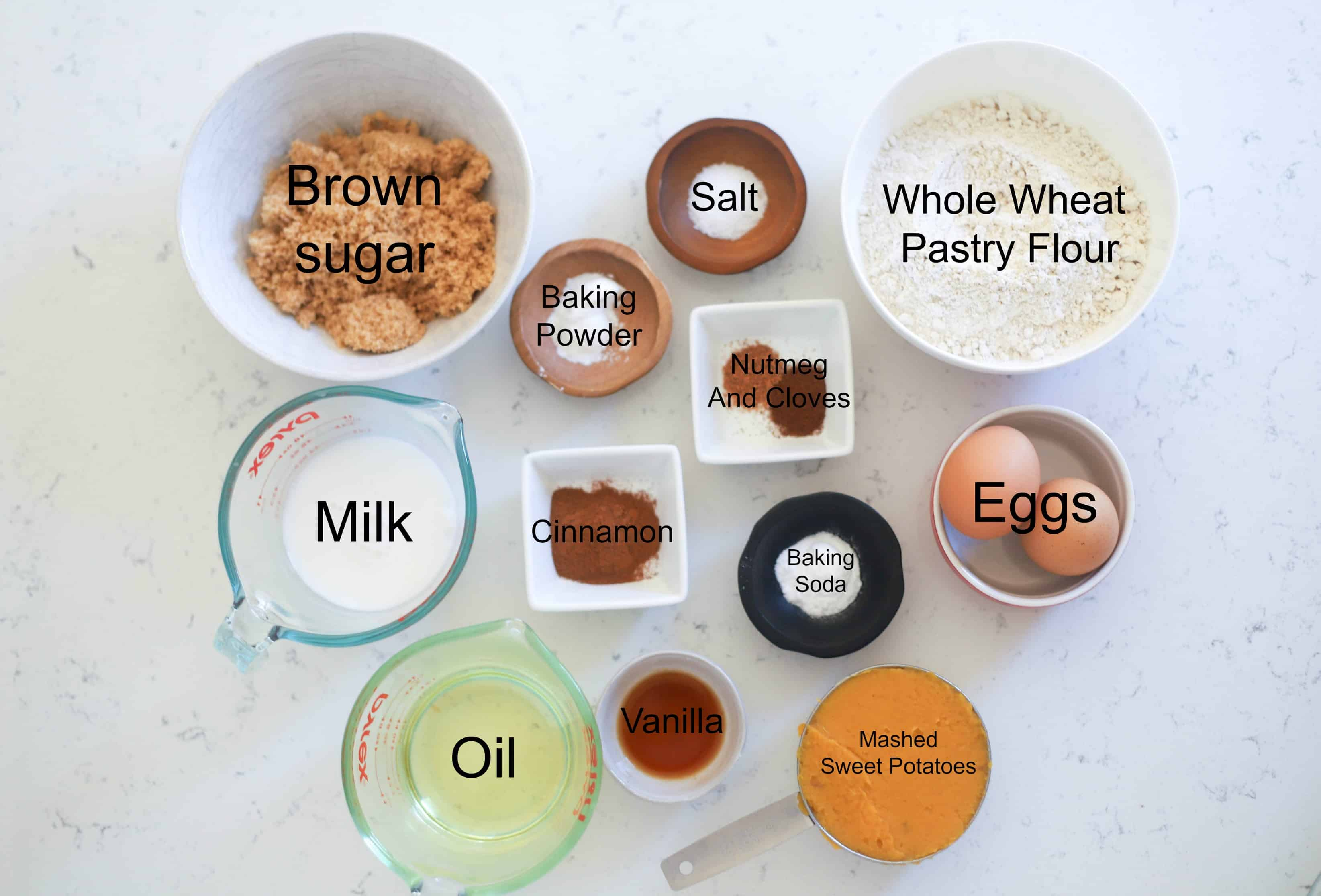 sweet potato muffin ingredients pre-measured