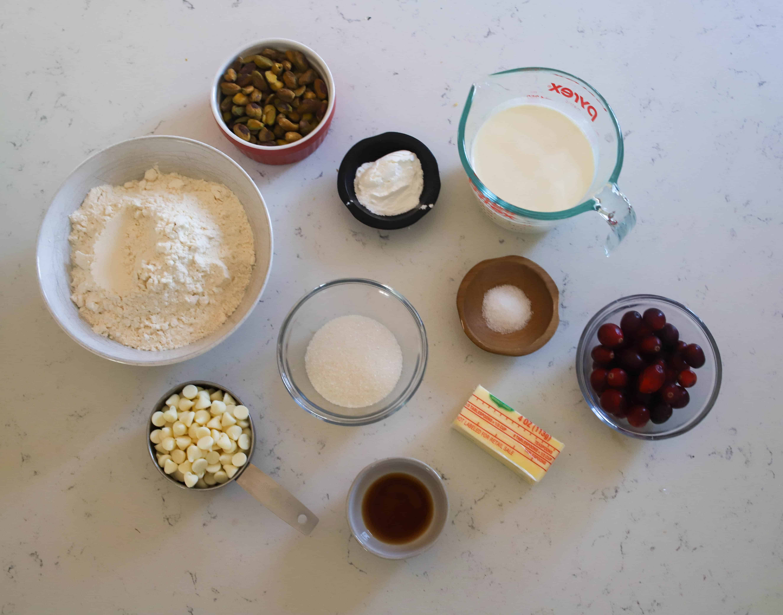 ingredients for pistachio scones