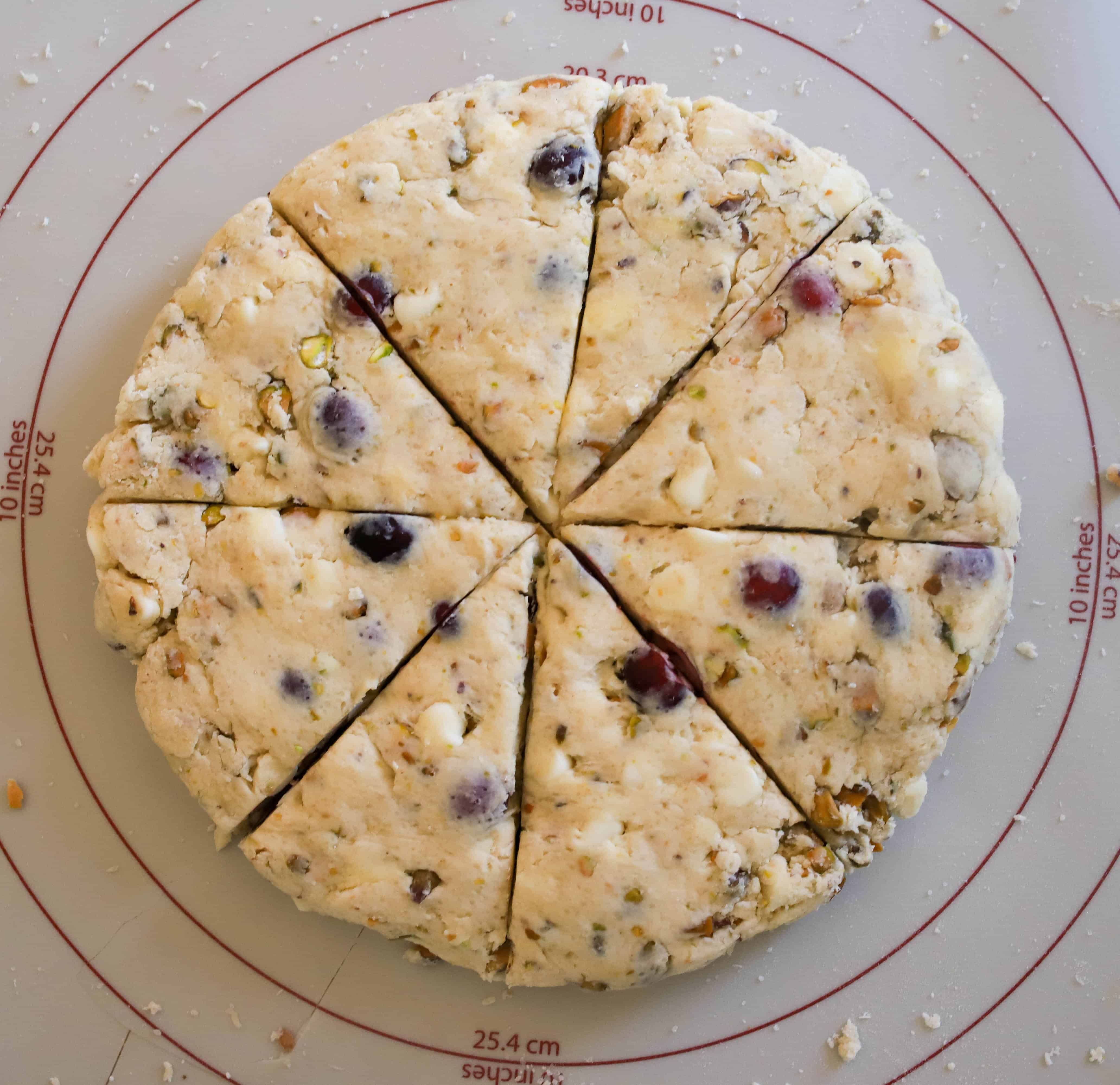 pistachio scones cut into 8 wedges