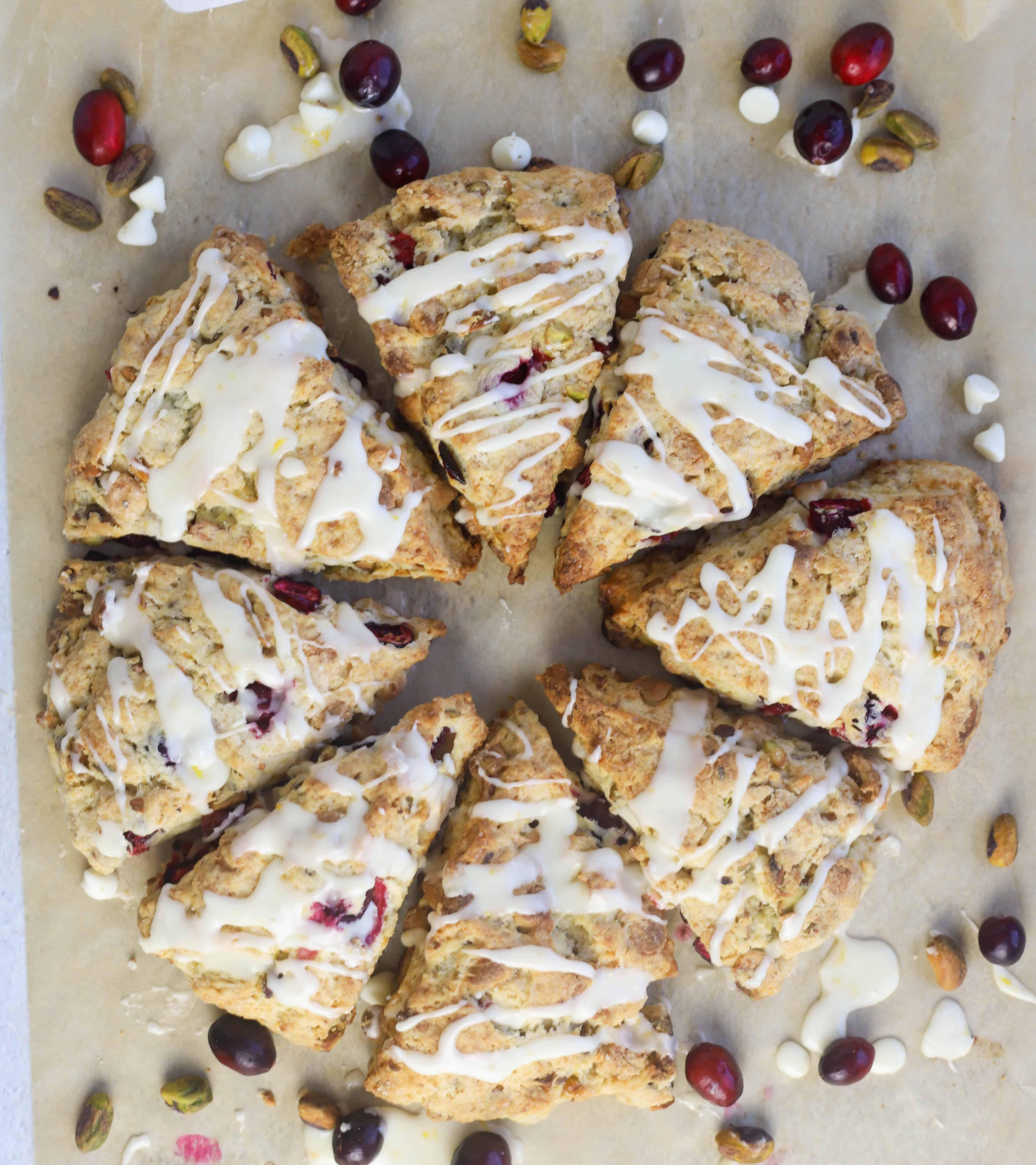eight pistachio scones in a circle