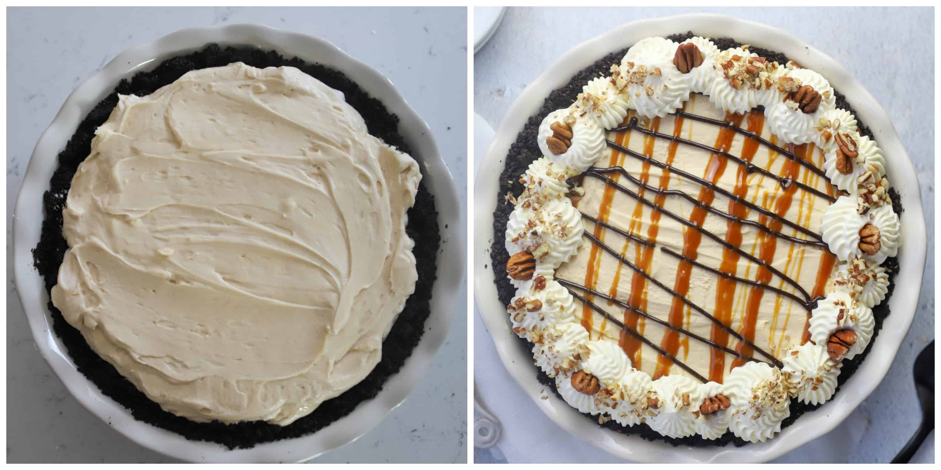 two photos of turtle pie, one without topping and one with