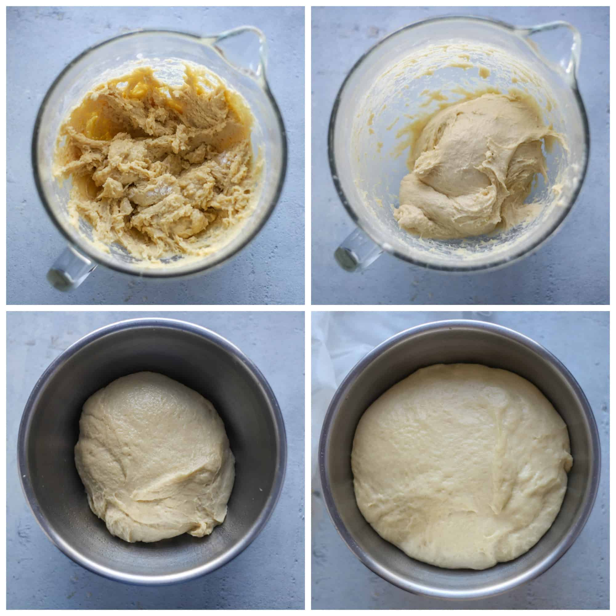 four photos of the dough being made and rising