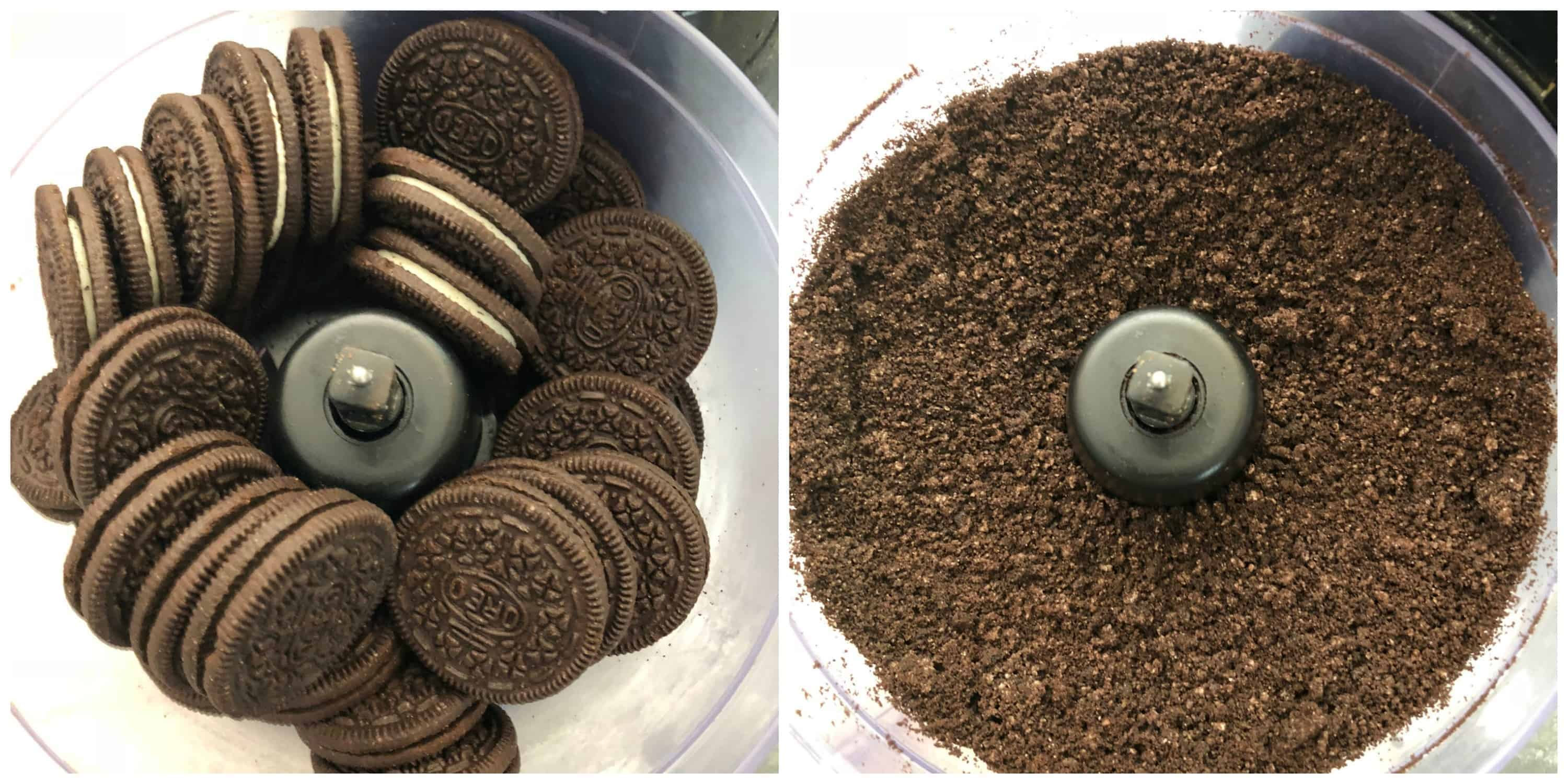 oreo cookies pulsed into crumbs in a food processor