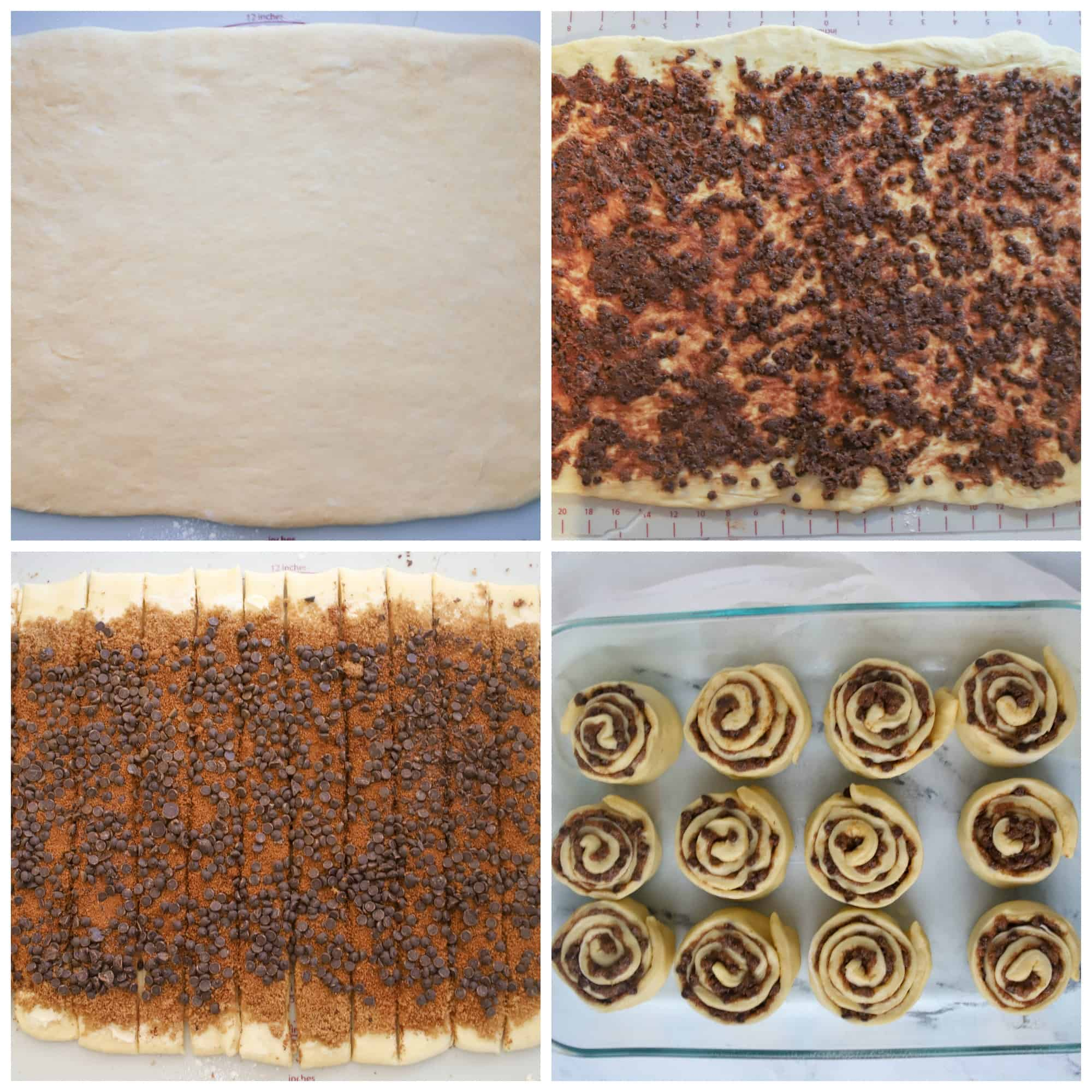 dough being spread with filling, cut into strips and rolled into spirals