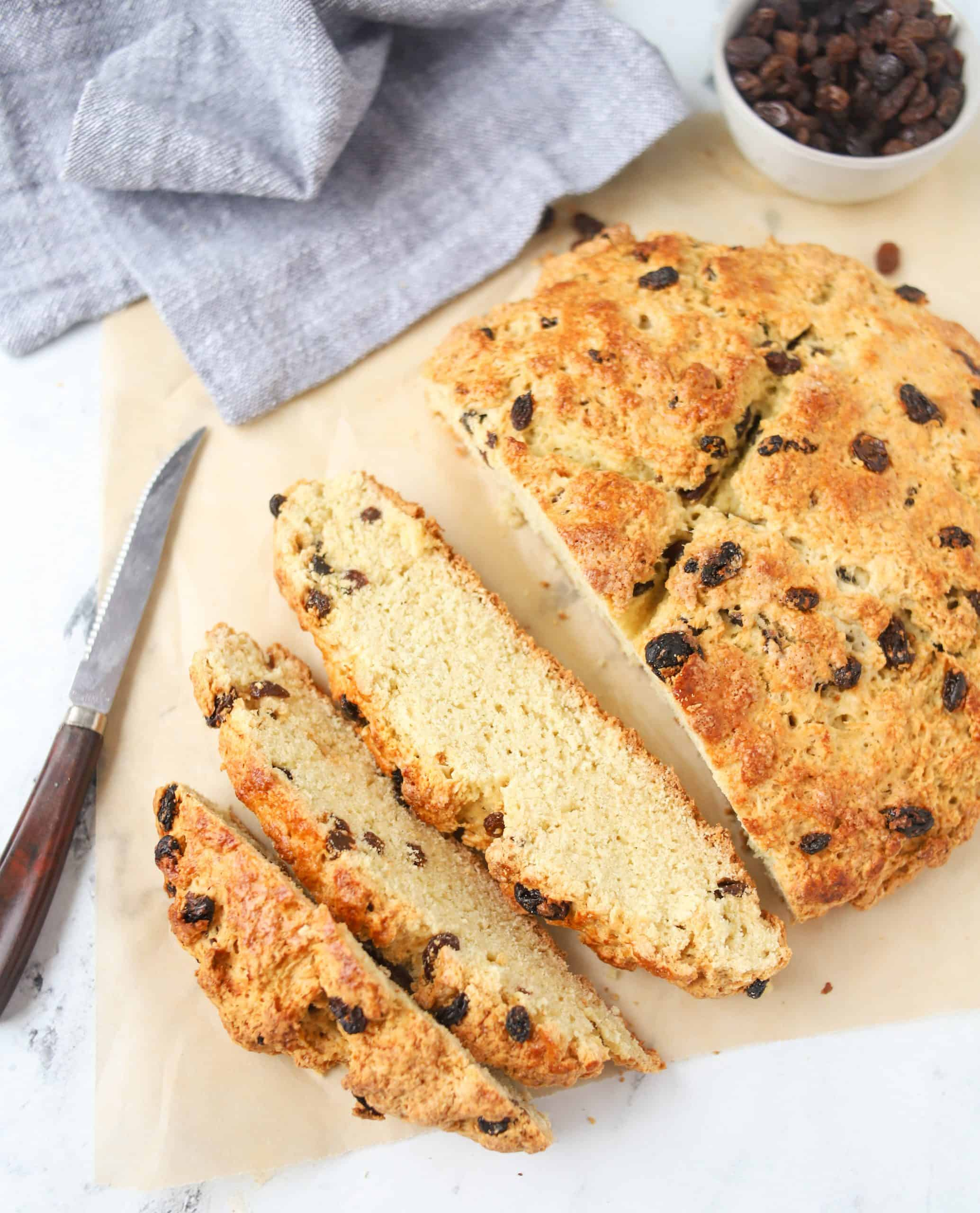 loaf of Irish soda bread sliced