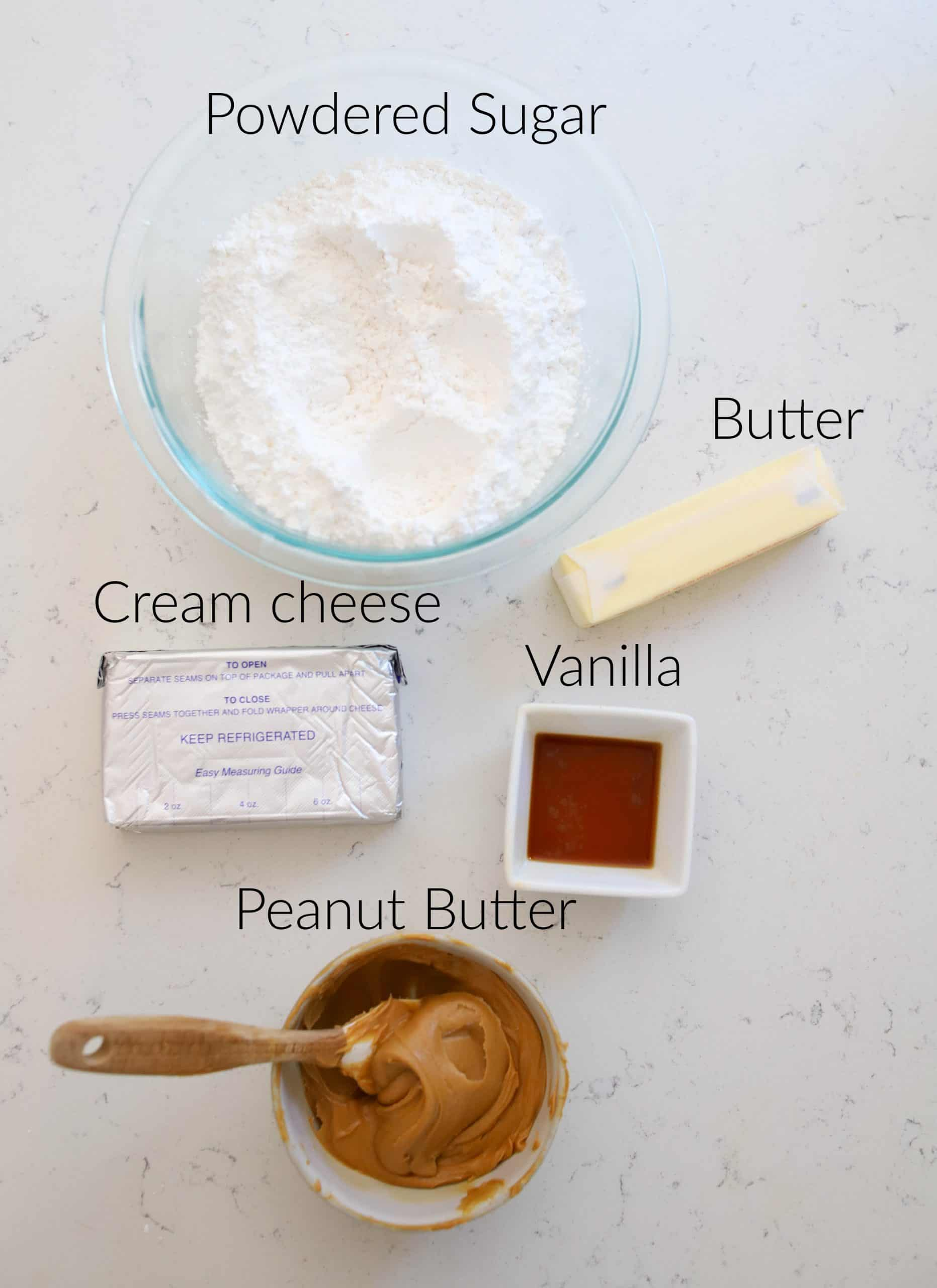 ingredients for peanut butter cream cheese frosting