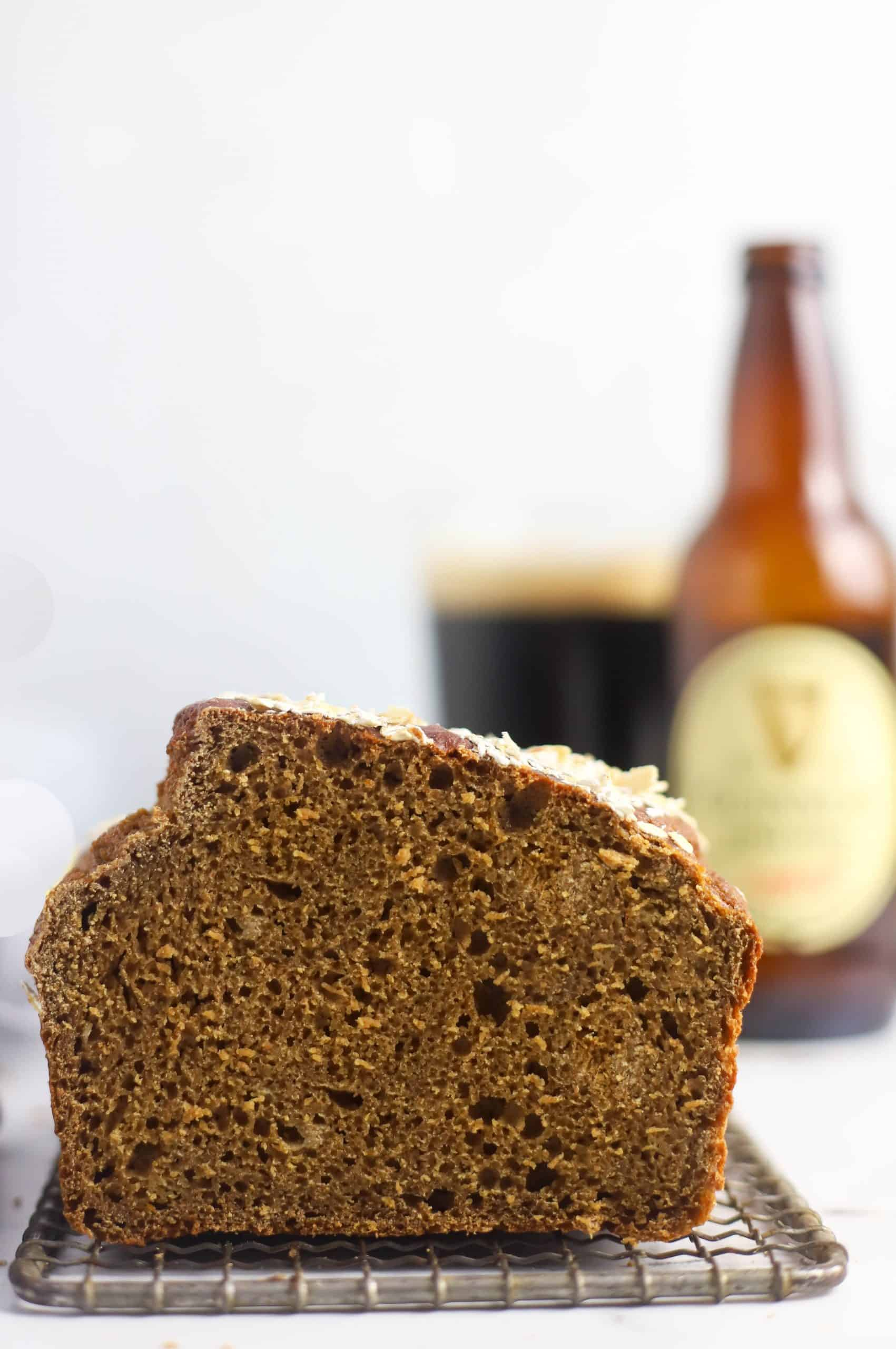 Guinness bread, bottle of beer and a glass full of beer