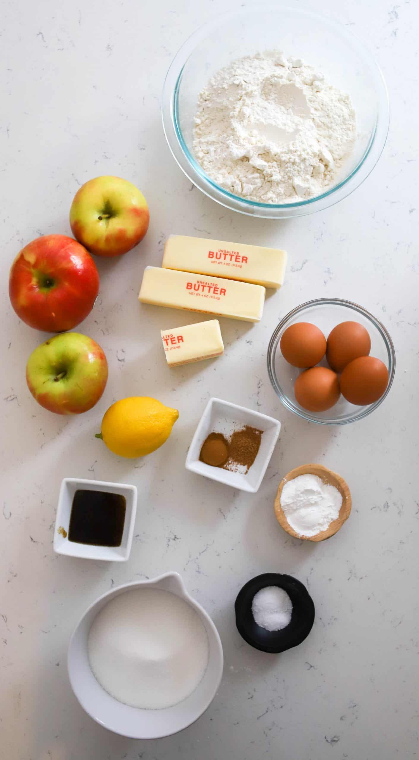 ingredients for Irish apple cake