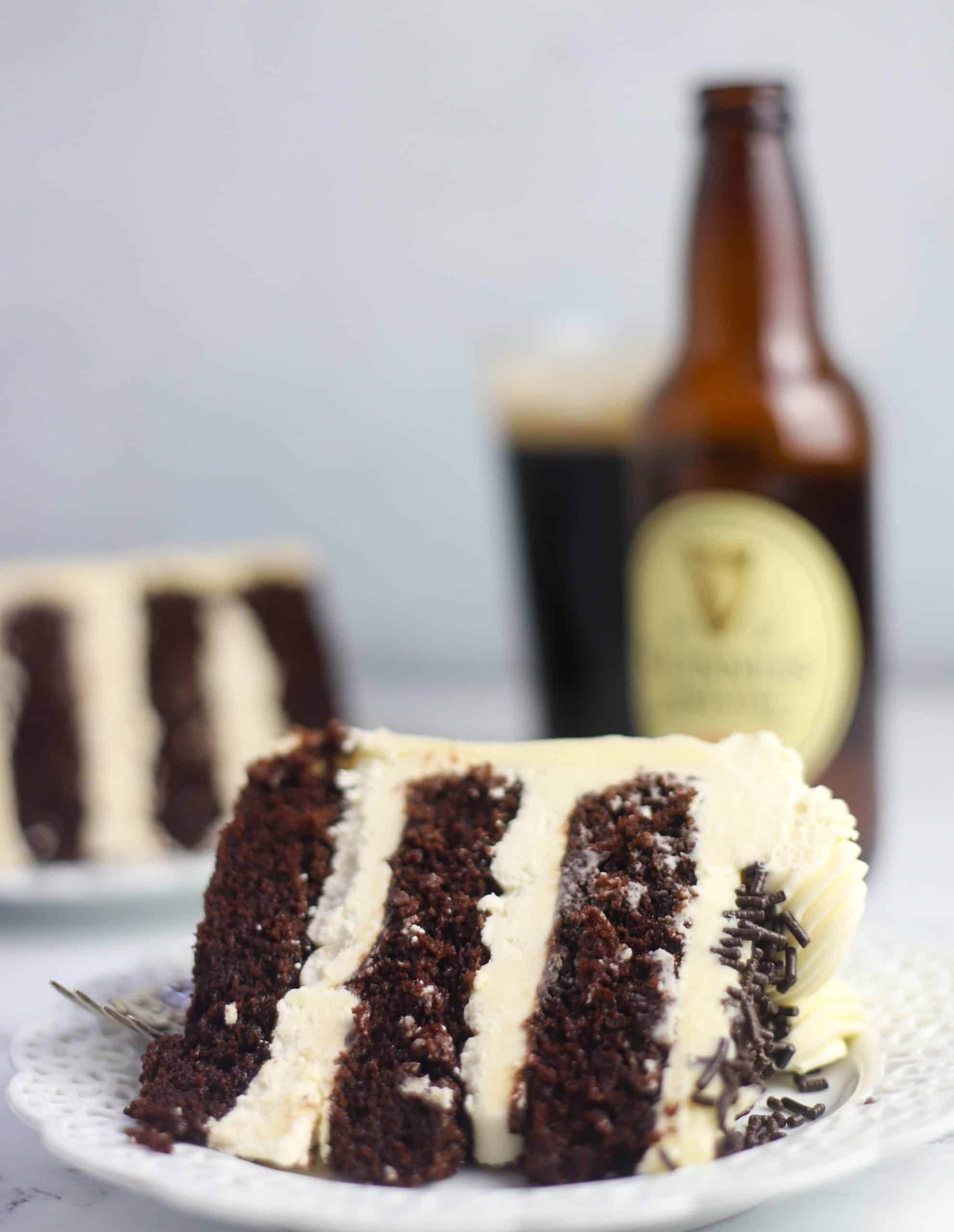 slice of Guinness cake on a plate