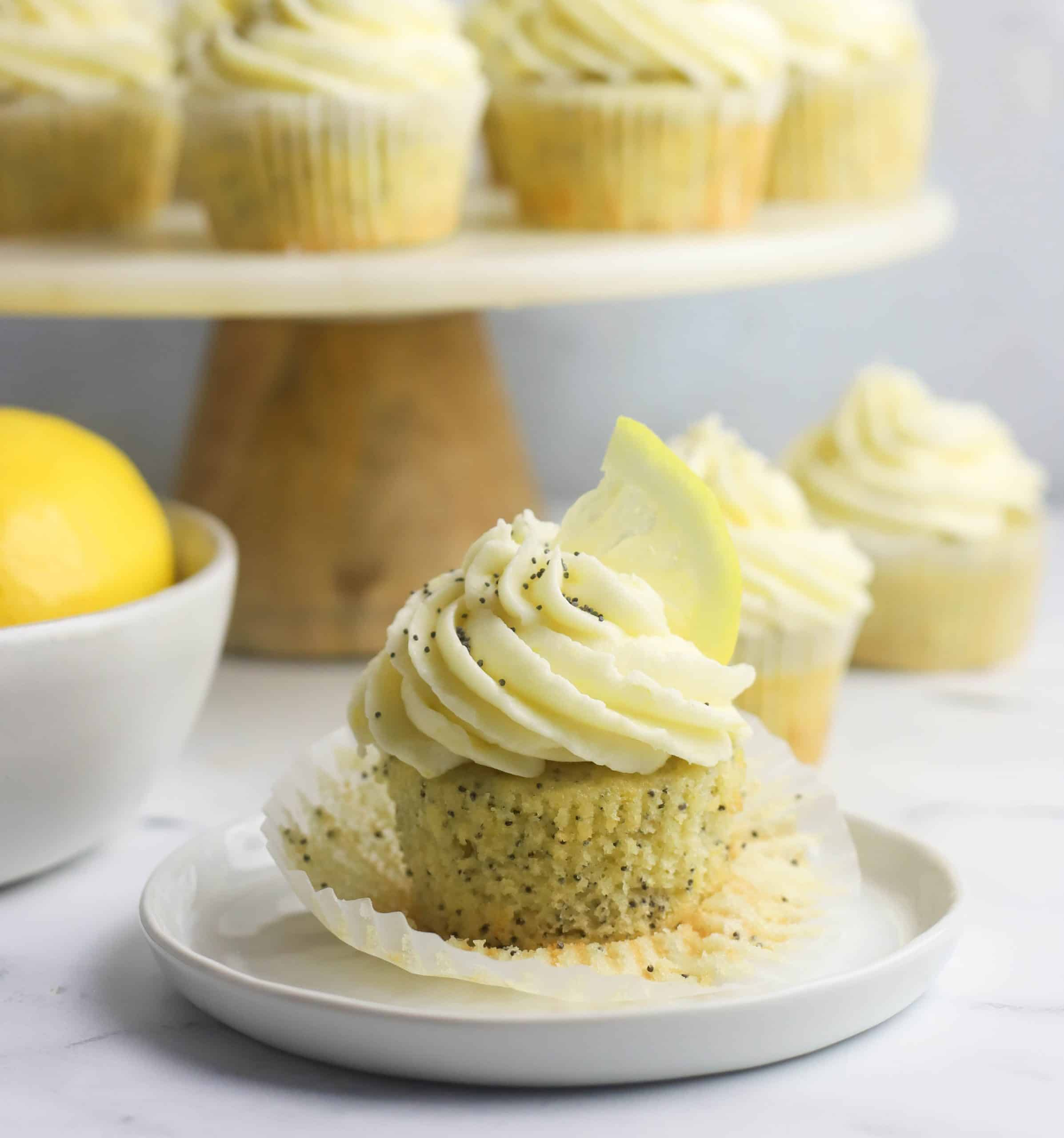 lemon poppy seed cupcake on a plate