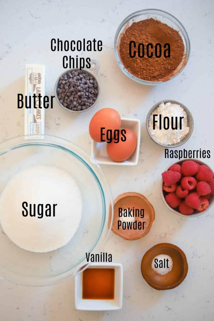 ingredients for raspberry brownies