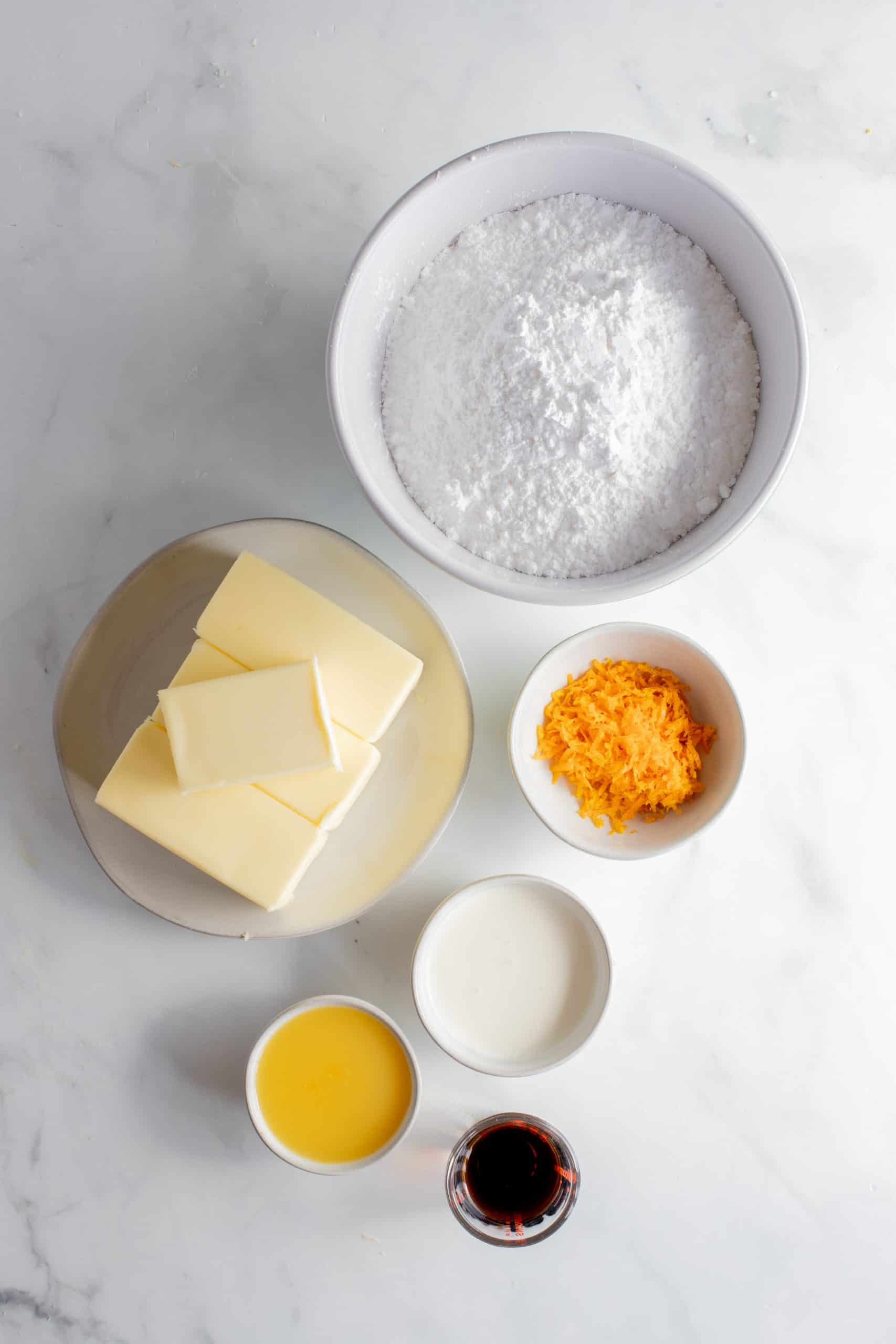 ingredients prepped for the creamsicle cake frosting