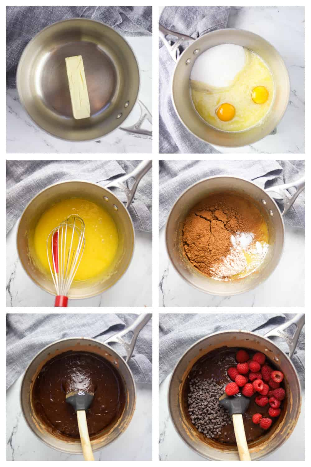 six photo collage of step by step instructions to make raspberry brownies