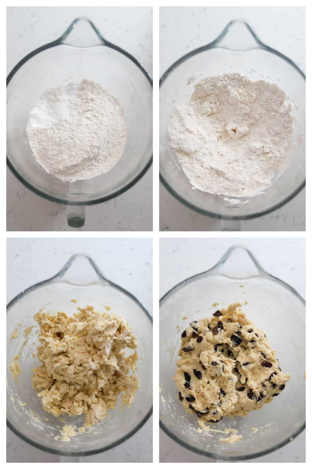four photo collage of making the Irish soda bread dough