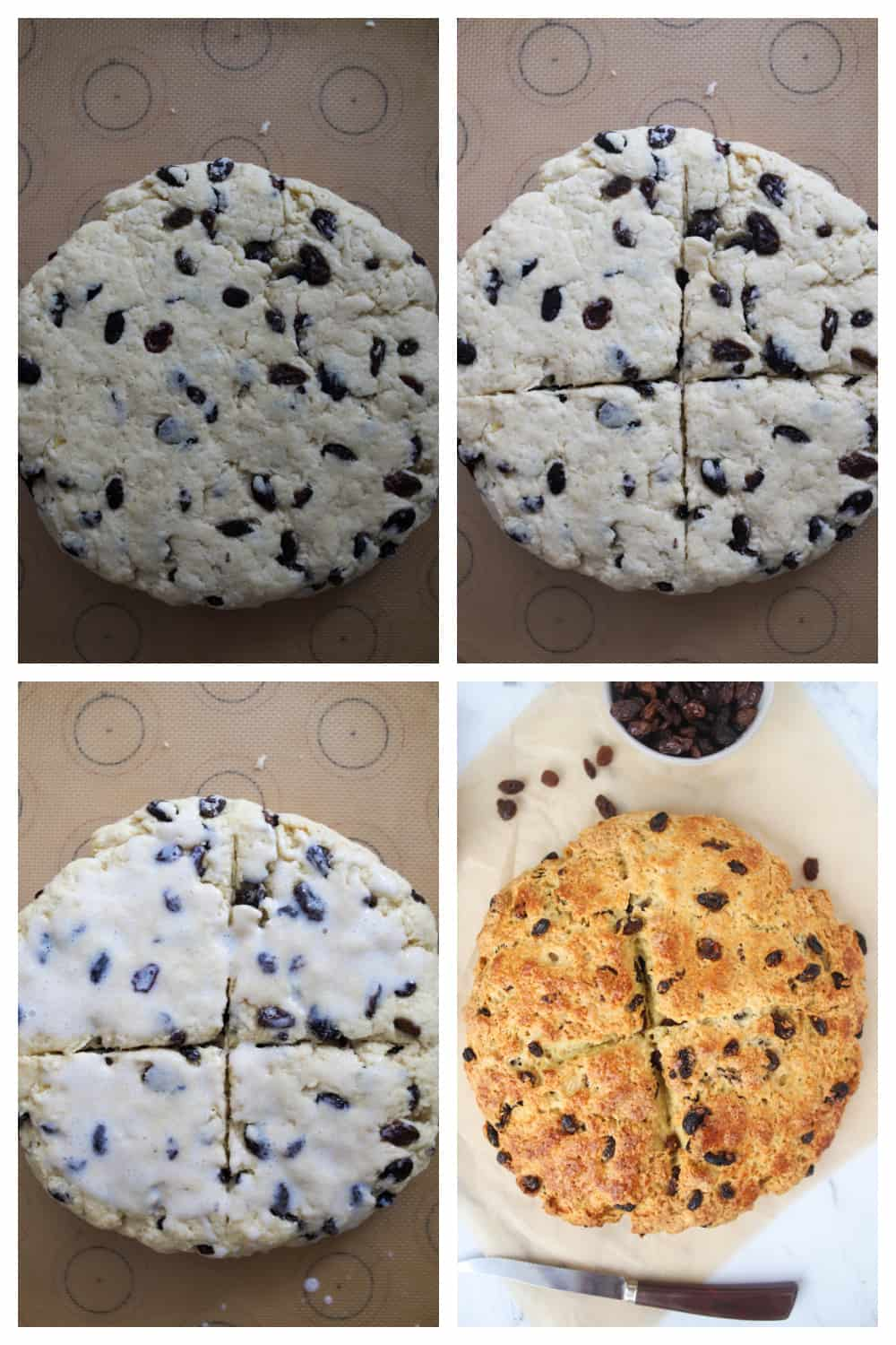 four photo collage of shaping bread for Irish soda bread