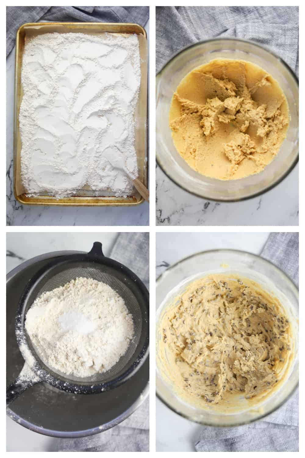 four photo collage of making edible cookie dough