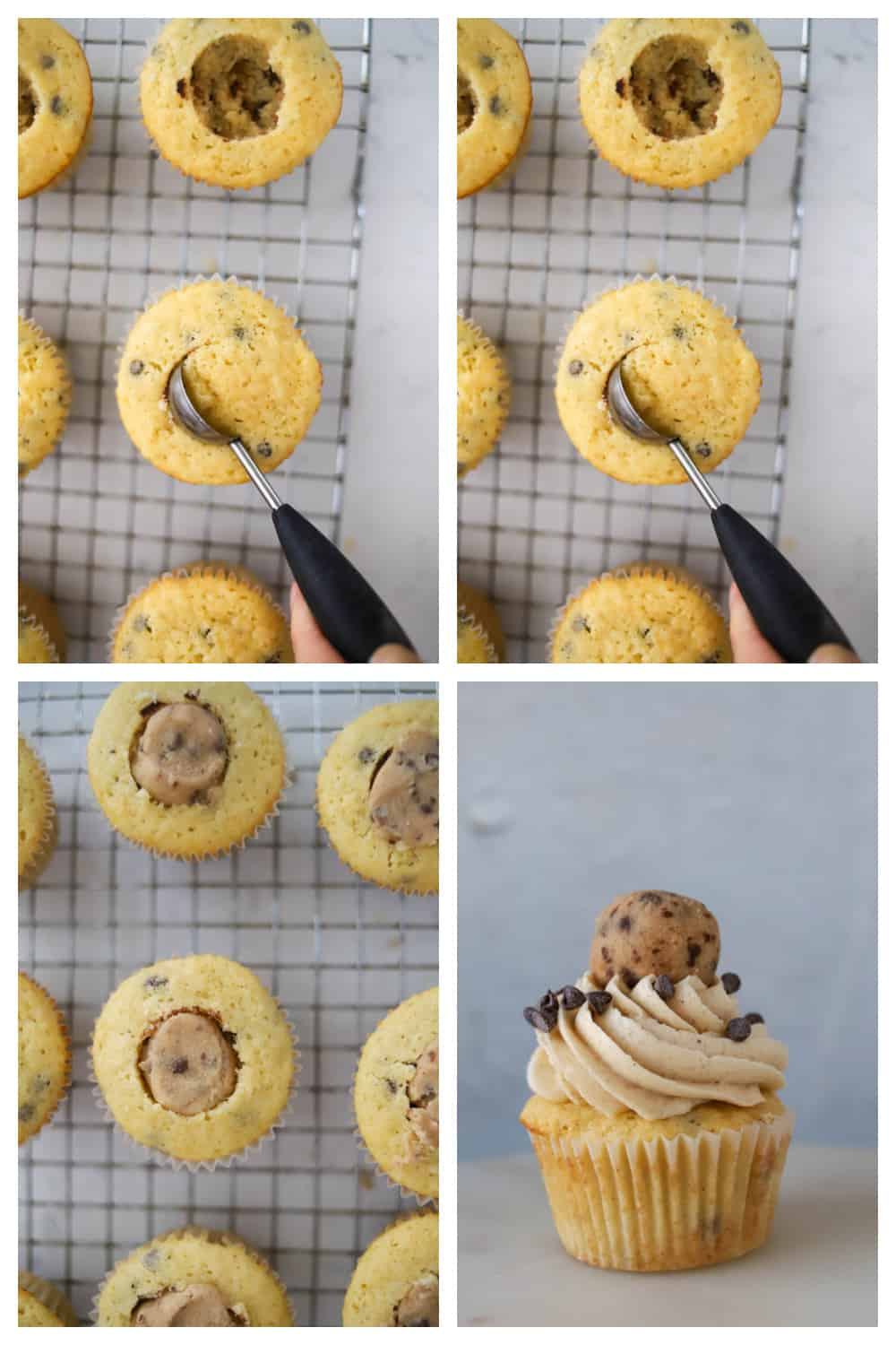 photo collage of coring the center of cupcake and filling it with cookie dough