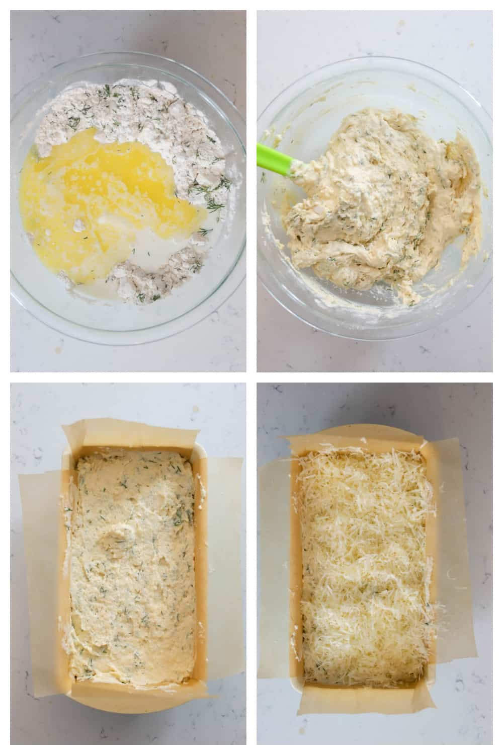 dill bread batter being mixed and spread into loaf pan