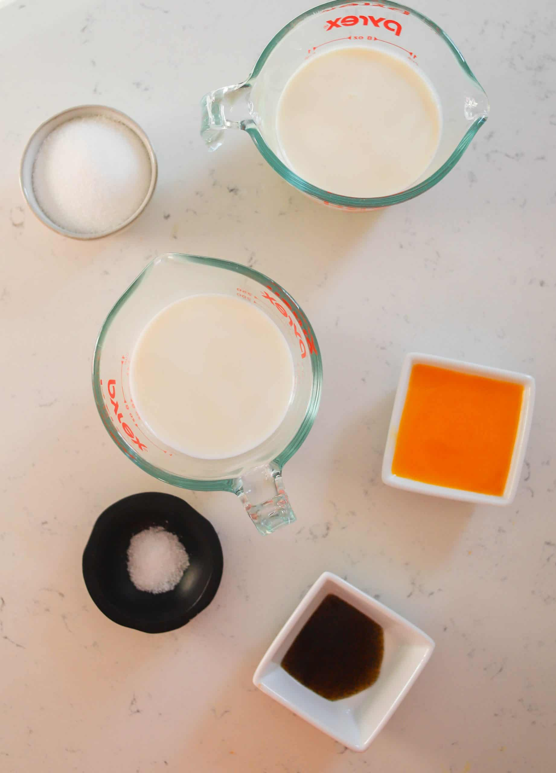 ingredients for vanilla custard sauce