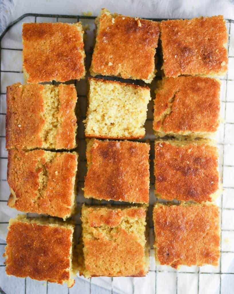 cornbread squares on a cooling rack