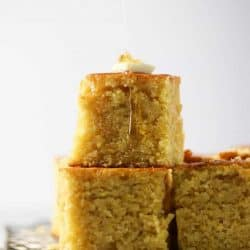 two slices of cornbread stacked