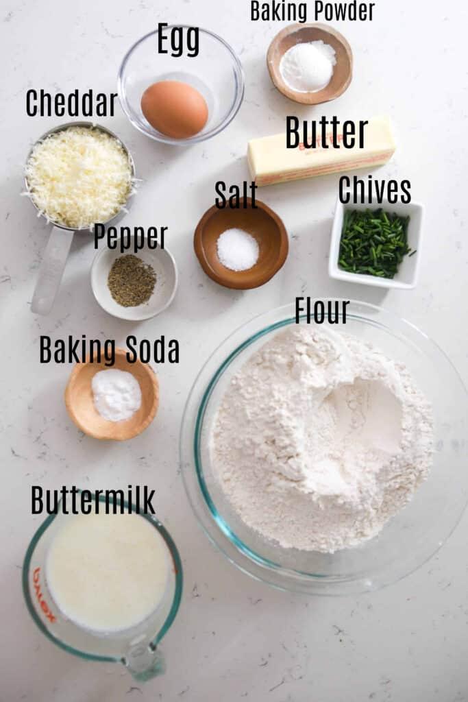 ingredients for cheddar Irish soda bread
