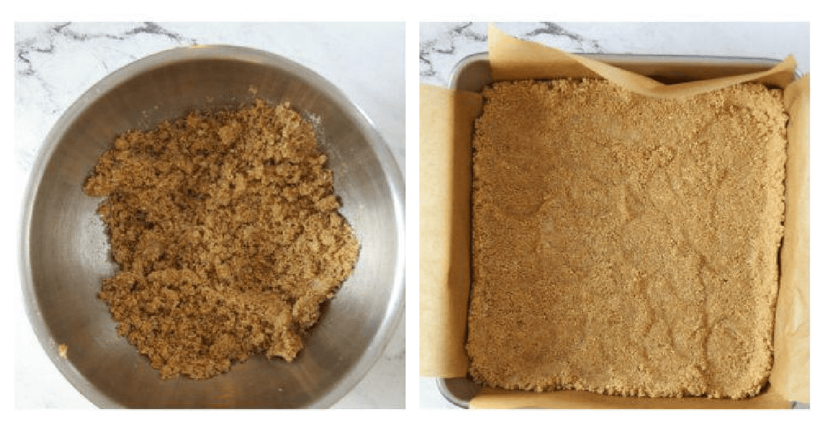 graham cracker crust being made