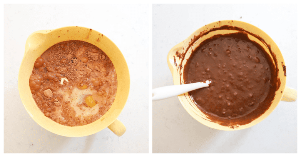 bowl of chocolate cake batter being mixed together