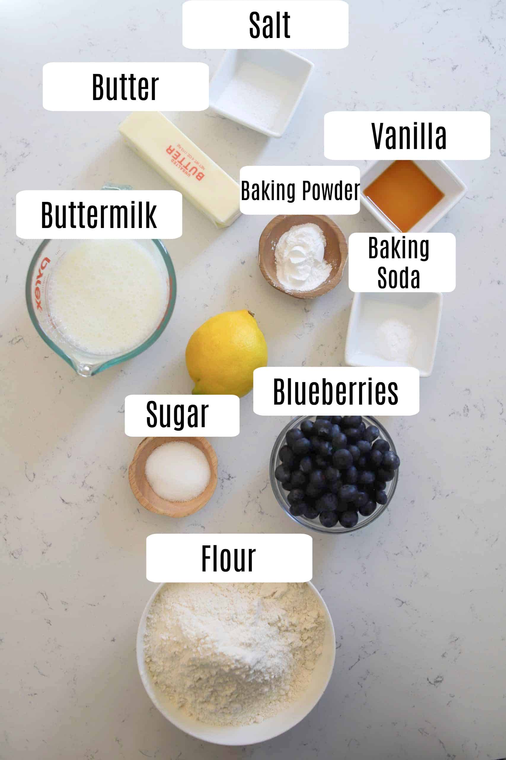 blueberry biscuit ingredients prepped in small bowls