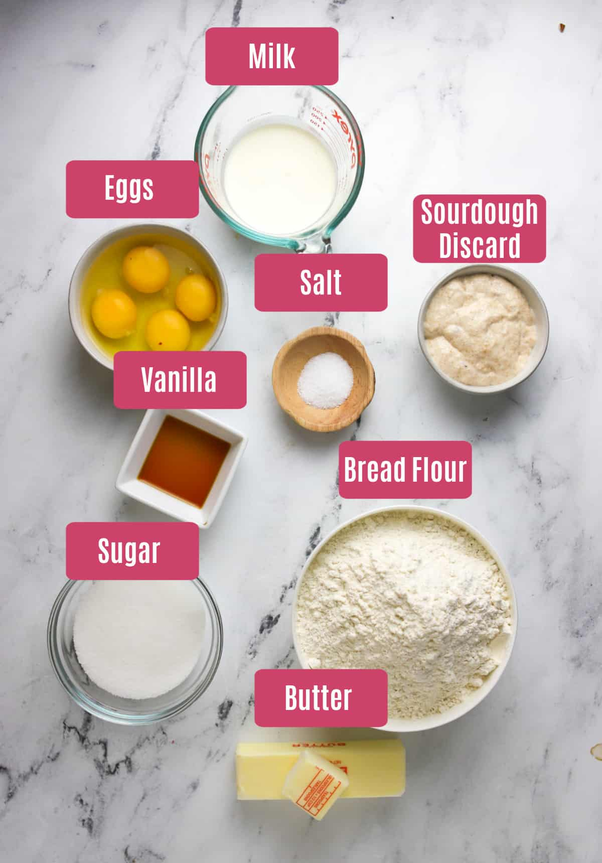 ingredients for sourdough chocolate babka