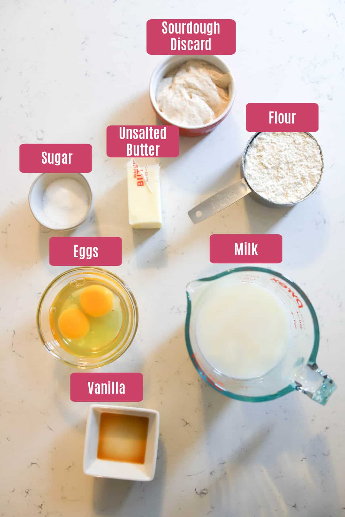 ingredients for sourdough crepes