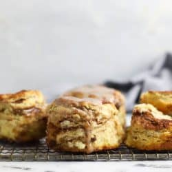 cinnamon raisin biscuits on a cooling rack